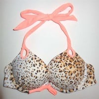 VICTORIAS SECRET GORGEOUS ADD 2 CUPS HALTER BIKINI TOP 32A LEOPARD