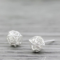 Custom sterling silver earrings,Unique simple earrings,Geometric earrings,wire Ear cuff, Wire Wrapped earrings,bridesmaid gift