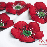 Brooch Red Poppy | Felt Brooch | Poppy Flower | Red Flower | Fabric Brooch | Pin | Broach | Memorial Honour Day Brooch Pin |