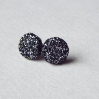 Black Diamond Druzy Glitter Stud Clay Earrings