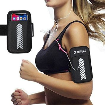 GEARWEAR Running Workout Armband for iPhone 8 X 7 6s Plus Case Holder for Men and Women Sports Runners Arm Bag Phone Pocket Belt For Samsung Galaxy S8 S7 Plus Edge Active Black
