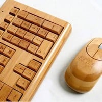 100% Bamboo Handcrafted Keyboard and Mouse Combo