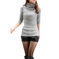 Light Gray Button Turtleneck  Long Sleeve Knitted Pullover Sweater