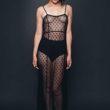 Across The Universe Sheer Black Mesh Dress with Star Pattern