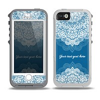 The Intricate Blue & White Snowflake Name Script Skin for the iPhone 5-5s OtterBox Preserver WaterProof Case