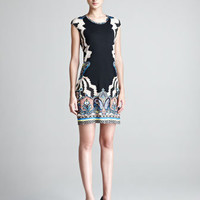 Etro Border-Print Cap-Sleeve Dress