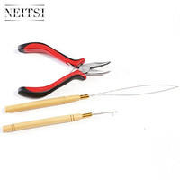 Neitsi® 3 Pc Kit for Micro Ring Link Hair and Feather Extensions: Pliers, Micro Pulling Needle, and Loop Threader