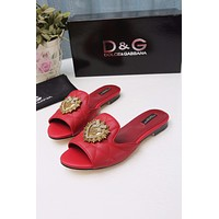D&G DOLCE & GABBANA Women's Leather Fashion Sandals Shoes