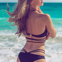 Black Metal Detailed Strappy Bikini with Detectable Halter Strap