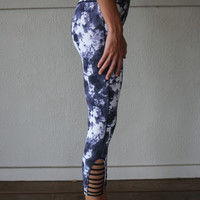 Revolt Navy Splatter Print Cut Out Leggings