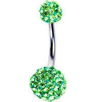 Peridot Austrian Crystal Evolution Belly Ring | Body Candy Body Jewelry