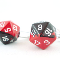 Red Dipped Black D20 Cuff Links by angelyques on Etsy