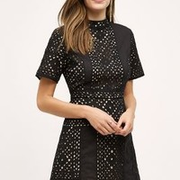 KAS New York Cutwork Mockneck Dress in Black Size: