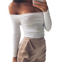 Smoves Sexy Off Shoulder Women Knitted Sweater Tops Autumn Winter Pullover Crop Tops Long Sleeve Casual T-shirts New White TT307