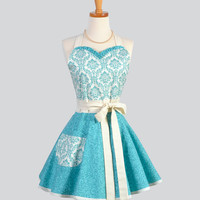 Sweetheart Retro Apron / Teal and Ivory Damask Top a Teal Swirl Fabric in this Mod Vintage Retro Womens Apron