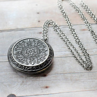 Pendant Locket SALE Jewelry Antique Silver Big Locket Pendant Jewelry Long Length Limonbijoux