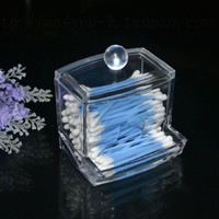 New Design Clear Acrylic Cotton Swab Box Q-tip Storage Holder Cosmetic Makeup tool Women Storage Case 2016