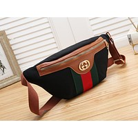 GUCCI  fashionable canvas striped Fanny pack hit with women's casual cross-breast bags Black