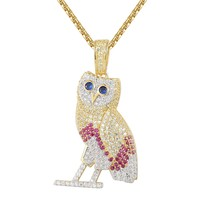 Custom Multi Color Sterling Silver Owl Pendant Chain