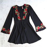 Waste the Night Long Sleeve Dress with Rose Patches in Black