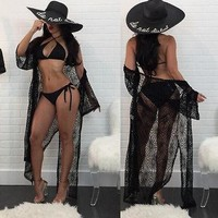 Cover ups Bikini New Women Summer Fringe Beach Lace Hollow Out Solid Color Cover-up Tops Swimsuit Bikini Set Floral  KO_13_1