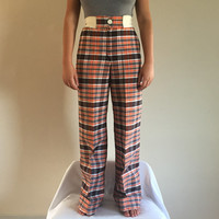 """1970s Plaid Flare Bell Bottoms Elastic Waistband, Brown Orange and White Plaid, Button Front Cuffed bottom, Size 1, 20"""" to 27"""" waist"""