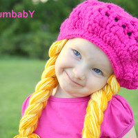 Any Color- One Size Fits All- Beret with Yellow Pigtails
