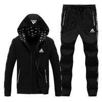 ADIDAS autumn and winter hooded cardigan closing trousers large size casual two-piece suit Black