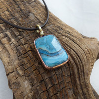 Lace Agate Necklace, Agate and Copper Necklace, Copper and Brass Pendant, ColeTaylorDesigns