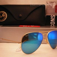 Ray Ban LARGE METAL (RB3025-112/17 58) Matte Gold with Green Mirror Blue Lens