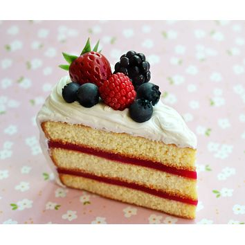 Fresh Berry Cake Slice Miniature Food Magnet Polymer Clay