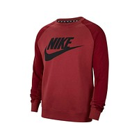 Nike Men's Hybrid Crew Neck Sweatshirt Maroon Black