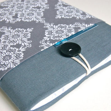 """Laptop Sleeve 14"""" - 15.6""""  inch Laptop Case, Ultrabook Sleeve or MacBook Pro - Gray and Lace"""