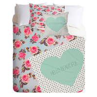 Deny Designs Hello Floral Twin Bed Set Mint One Size For Women 24653052301