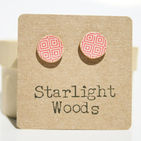 Pink pattern studs earrings summer jewelry minimalisti jewelry eco fashion eco-friendly unique gift for her