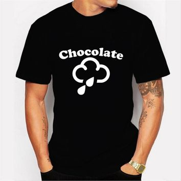 2017 New Men's Fashion personality 'chocolate' letters pattern clouds printed Design T shirt Cool Short Sleeve Hipster Tops