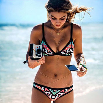 Tribal Print Triangle Bikini Set - Free Shipping