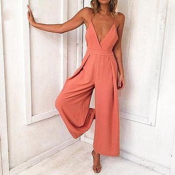 Sexy V Neck Spaghetti Strap Jumpsuit Backless Lace up Long Rompers Female High Waist Wide Leg Jumpsuit
