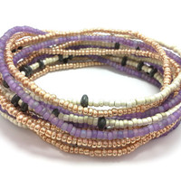 Seed bead wrap stretch bracelets, stacking, beaded, boho anklet, bohemian, stretchy stackable multi strand, purple gold white black hematite