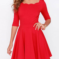 Plain Wave Neck Half-Sleeve A-Line Dress
