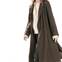 Army Green Shawl Drawstring Waist Long Coat