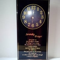 Serenity Prayer Wall Clock Vintage Black Gold Hologram Letters Alcoholics Prayer Zen Quote Wall Hanging Home Decor Collectible Housewarming