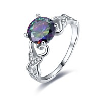 Merthus Mystic Rainbow Topaz 925 Sterling Silver Solitaire Engagement Ring for Women