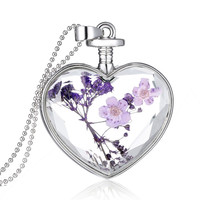 Women's Fashion Jewelry Romantic Crystal Glass Heart Shape Floating Locket Dried Flower Plant Pendant Chain Necklace