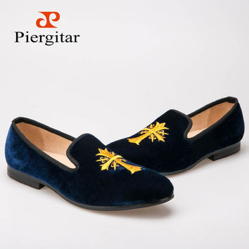 Brandy Embroidered Men Velvet Loafers Free Shipping