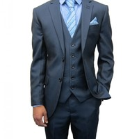 Mens Blue Three Piece Suit Ideal for Weddings (Rocky)