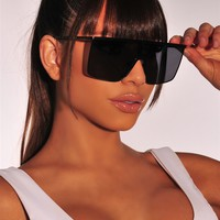 Black Chrome Rim Flat Top Sunglasses