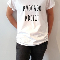 Avocado Addict T-shirt Unisex for women fashion cute top tees funny vegan guacamole