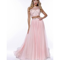 Preorder - Light Pink Chiffon A-Line Embellished Two Piece Gown 2016 Prom Dresses