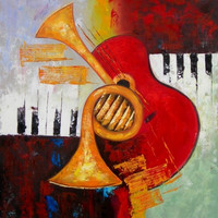 Central Musical Oil Painting